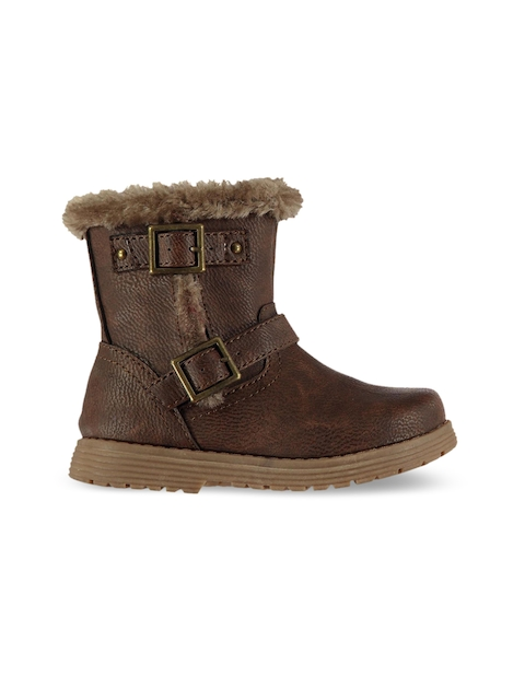 Miso Girls Brown Solid Textile Mid-Top Flat Boots