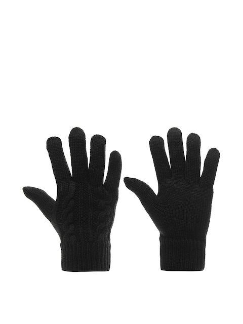 Firetrap Women Black Cable Knit Gloves