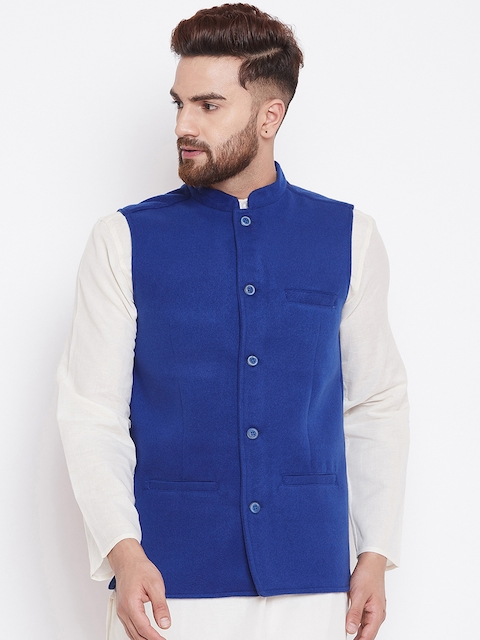 even Men Blue Solid Nehru Jacket