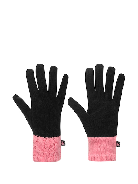 SoulCal Women Black & Pink Knitted Gloves