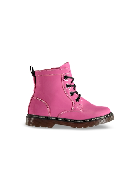 Miso Girls Pink Solid High-Top Flat Boots
