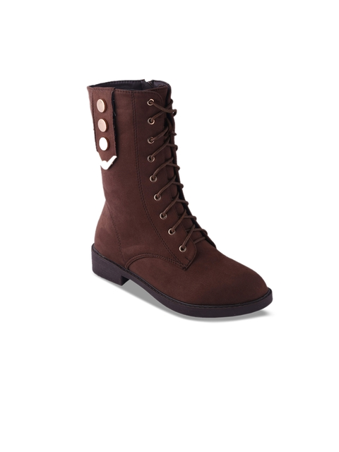MSC Women Brown Solid Heeled Boots