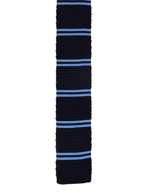 Tossido Black & Blue Woven Design Broad Tie