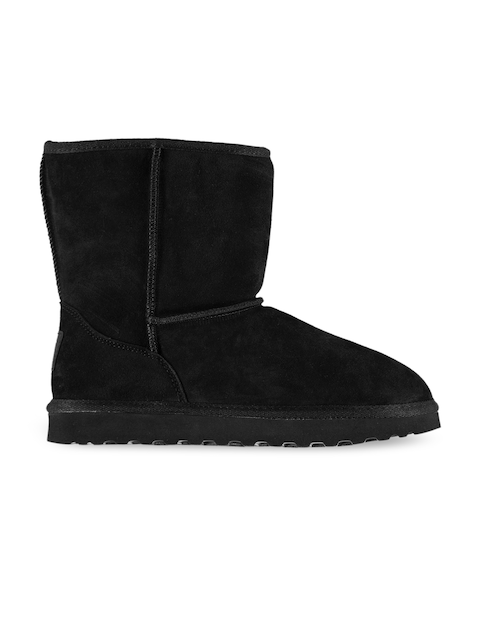 SoulCal Girls Black Solid Leather High-Top Flat Boots