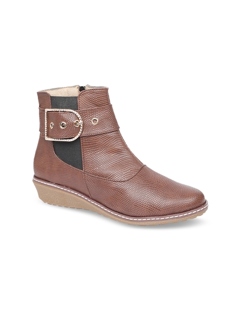 VALIOSAA Women Brown Solid Heeled Boots