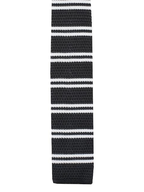 Tossido Black & Off-White Woven Design Broad Tie