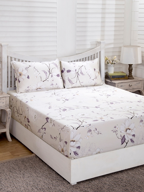 MASPAR Beige & Purple Floral Flat 210 TC Cotton 1 Double Bedsheet with 2 Pillow Covers
