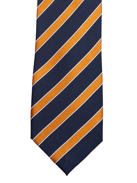 Tossido Navy Blue & Orange Striped Broad Tie