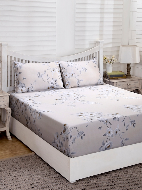 MASPAR Grey & Beige Floral Flat 210 TC Cotton 1 Double Bedsheet with 2 Pillow Covers