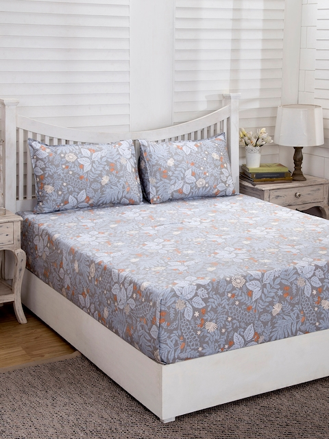 MASPAR Grey Floral Flat 210 TC Cotton 1 Double Bedsheet with 2 Pillow Covers