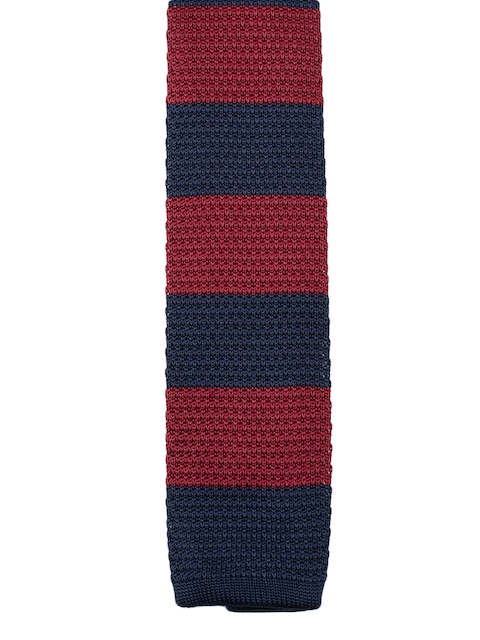 Tossido Maroon & Navy Blue Knitted Striped Broad Tie