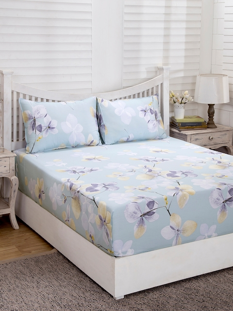 MASPAR Blue Floral Flat 210 TC Cotton 1 Double Bedsheet with 2 Pillow Covers