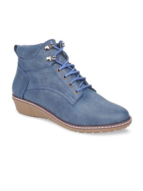 VALIOSAA Women Blue Solid Heeled Boots