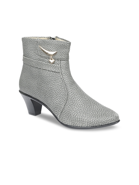 VALIOSAA Women Grey Solid Heeled Boots