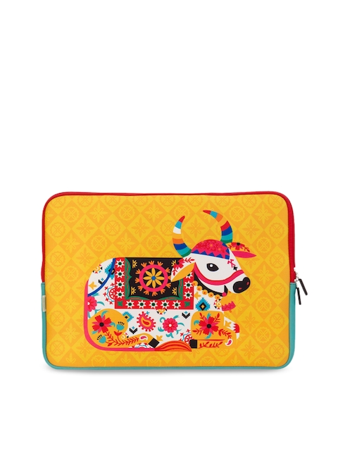 Chumbak Unisex Yellow & Pink Printed Laptop Sleeve