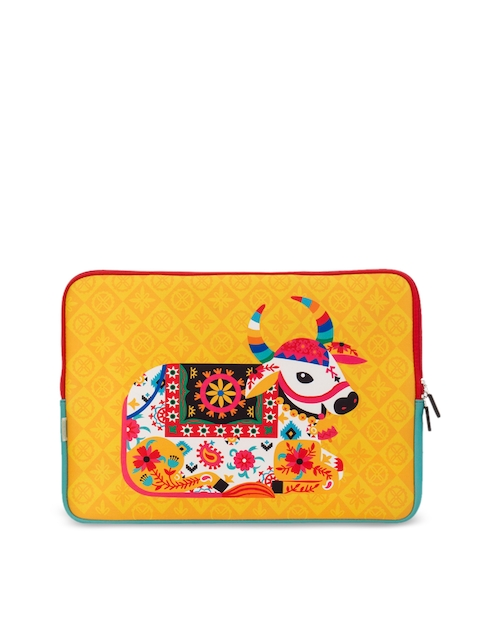 Chumbak Unisex Yellow Printed Laptop Sleeve
