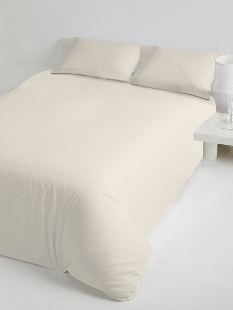 DDecor White Solid Flat 400 TC Cotton Single Bedsheet with 1 Pillow Covers