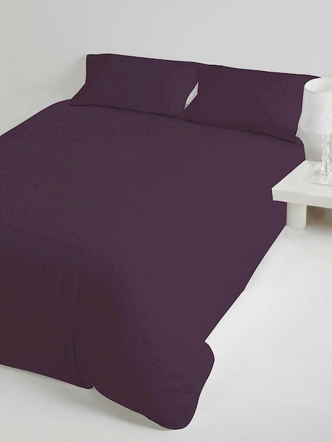 DDecor Purple Solid Flat 400 TC Cotton Single Bedsheet with 1 Pillow Covers
