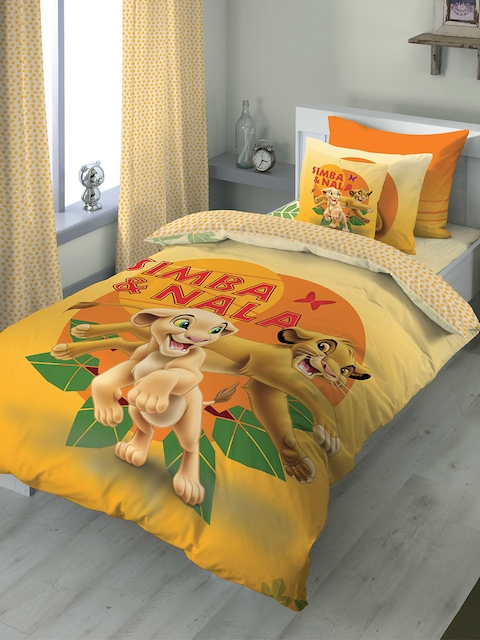 DDecor Orange Cartoon Characters Flat 180 TC Cotton Single Bedsheet with 1 Pillow Covers