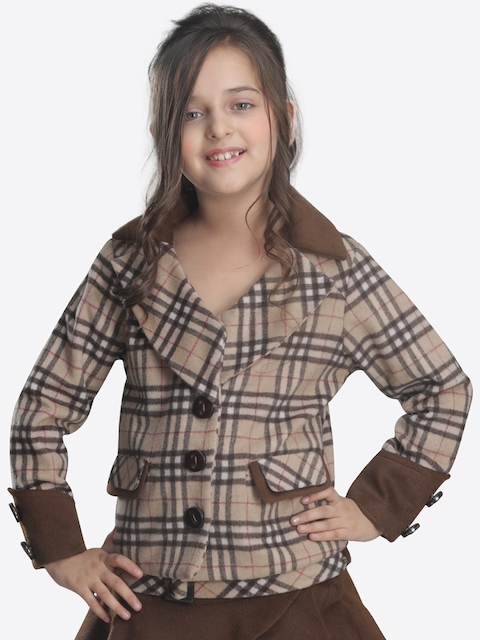 CUTECUMBER Girls Beige & Brown Checked Coat