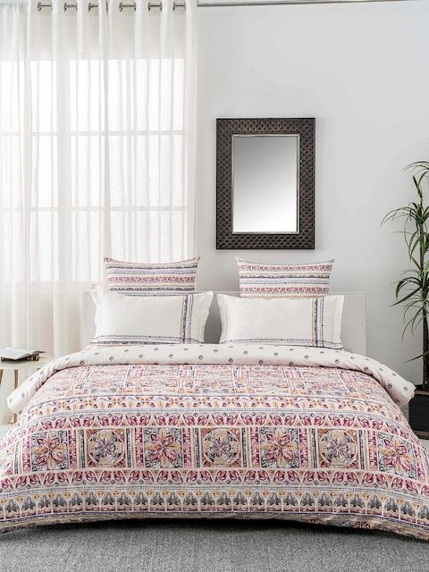 DDecor Purple & White Ethnic Motifs Flat 144 TC Single Bedsheet with 1 Pillow Covers