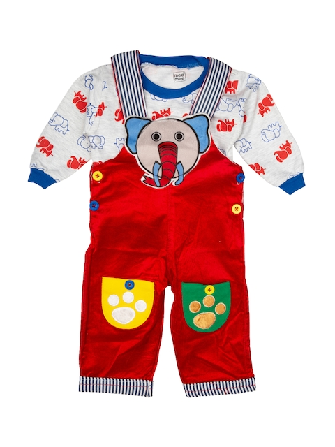 MeeMee Kids White & Red Printed T-shirt with Dungarees