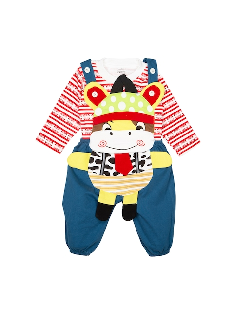 MeeMee Kids  Red & White Striped T-shirt with Dungarees
