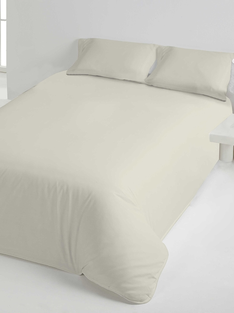 DDecor White Solid Flat 150 TC Cotton 1 Single Bedsheet with 2 Pillow Covers