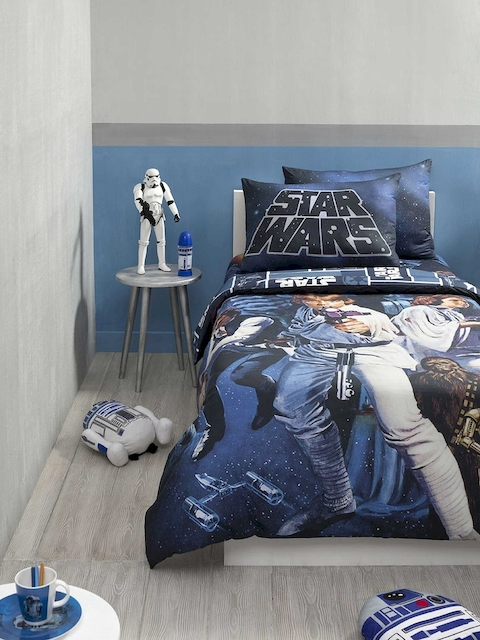 DDecor Blue Graphic Flat 180 TC Cotton 1 Double Bedsheet with 2 Pillow Covers