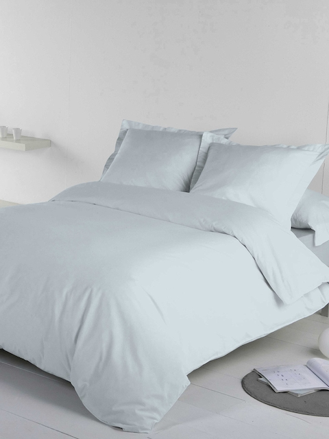 DDecor Blue Solid Flat 210 TC Cotton 1 Single Bedsheet with 1 Pillow Cover