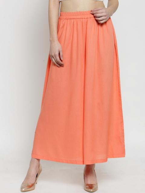 Sera Women Peach-Coloured Wide Leg Solid Palazzos