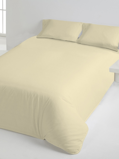 DDecor Cream-Coloured Solid Flat 400 TC Cotton 1 Single Bedsheet with 1 Pillow Covers