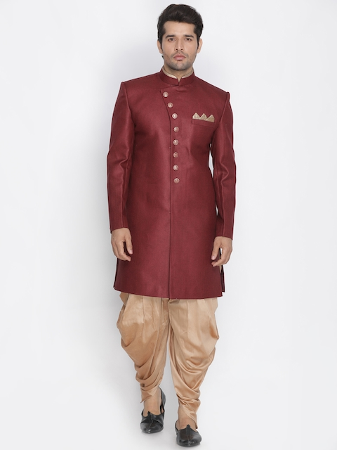 VASTRAMAY Men Maroon & Gold-Toned Sherwani Set