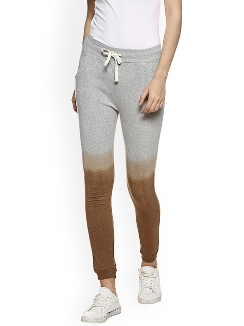 Campus Sutra Women Brown & White Ombre Joggers