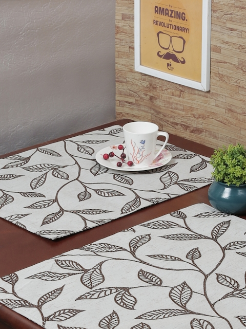 RANGRAGE Set of 6 Cream & Brown Handcrafted Table Placemats