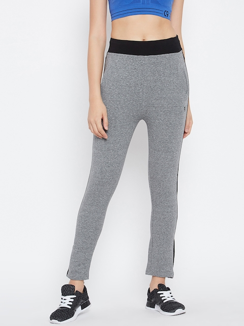 C9 Women Grey Melange Solid Track Pants