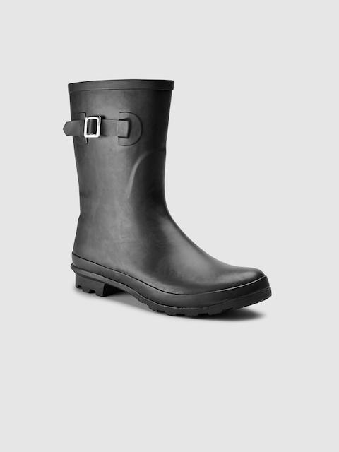 next Women Black Solid High-Top Flat Boots