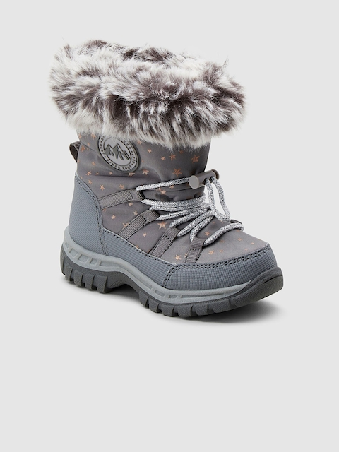 next Girls Grey Printed Textile Mid-Top Flat Boots