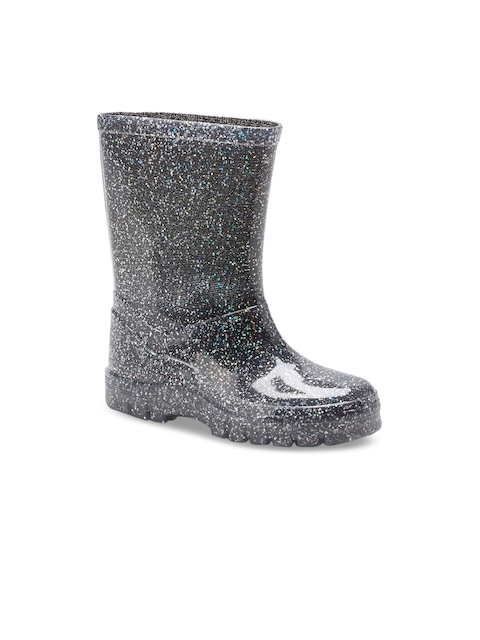 next Girls Silver-Toned Printed Synthetic High-Top Flat Boots