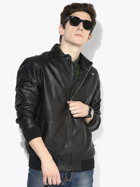 Black Solid Casual Jacket