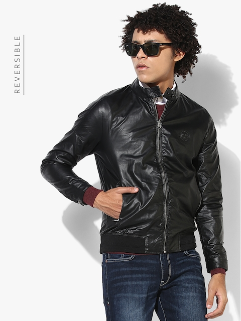 Black Solid Casual Jacket (Reversible)