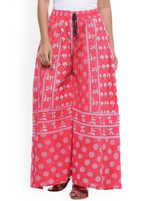 SOUNDARYA Women Pink Printed Wide Leg Palazzos