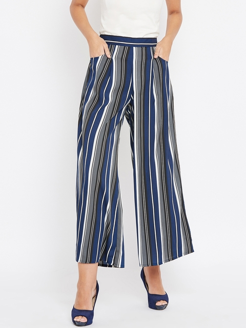 Ruhaans Women Blue & White Striped Straight Palazzos