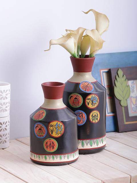 VarEesha Set of 2 Black Handpainted Terracotta Vase