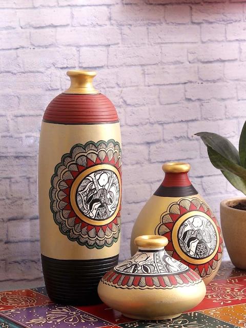 VarEesha Set of 3 Grey & Multicoloured Handpainted Terracotta Vase