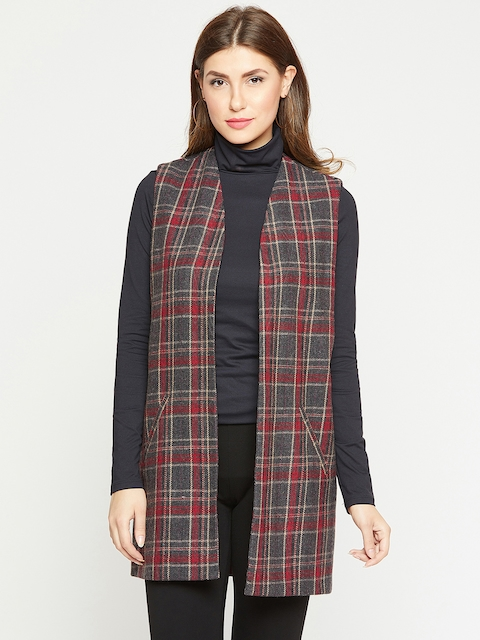 Marie Claire Black & Red Checked Open Front Shrug