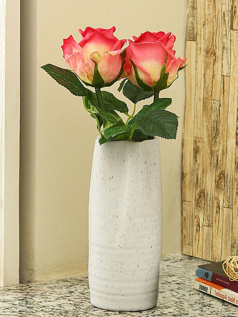 Aapno Rajasthan White Ceramic Flower Vase