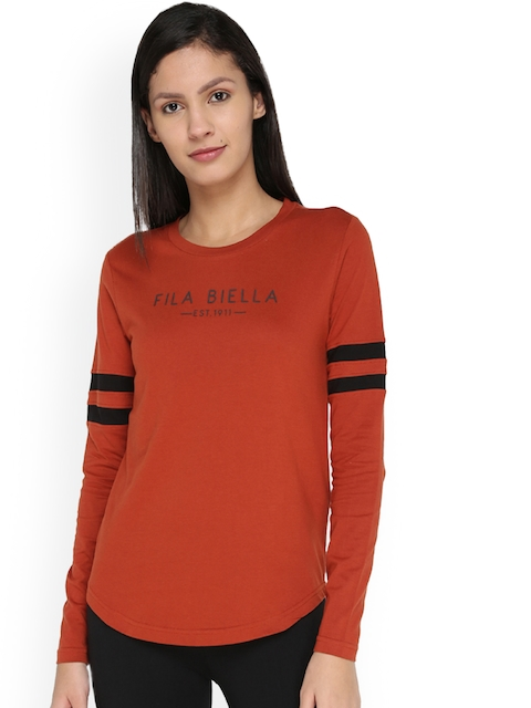 FILA Women Rust Brown Printed Slim Fit Round Neck T-shirt
