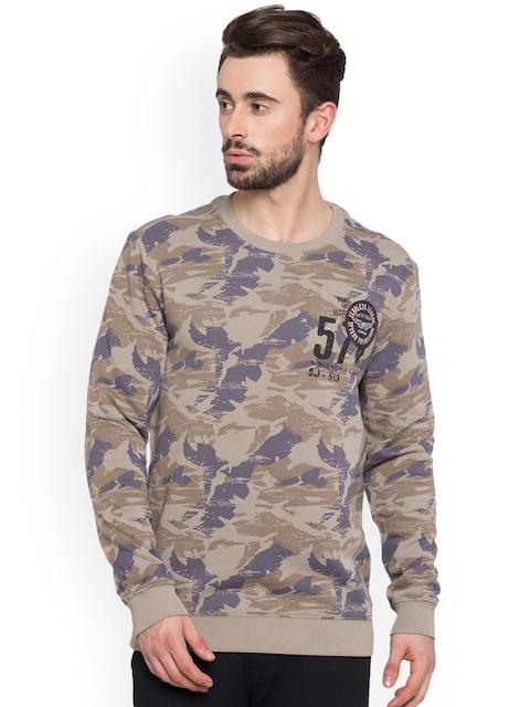 SPYKAR Men Beige Printed Sweatshirt