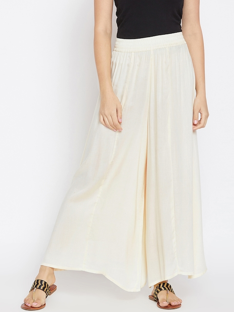 PANIT Women Off-White Flared Solid Palazzos